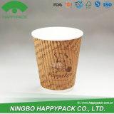 Taza de papel de la ondulación con insignia modificada para requisitos particulares