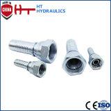 (10611) Encaixe de mangueira hidráulico masculino métrico do aço de carbono do aço inoxidável