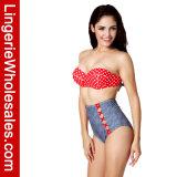 Retro Bodem Waisted Swimwear van de Bikini van Underwire van de Stip Hoogste Hoge