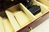 Bobinier en bois de montre de couverture de cuir d'unité centrale de Dard Brown