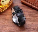 方法男女兼用の腕時計の黒のIPによってめっきされるケースの革バンド