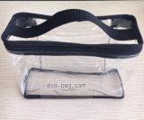 Bolso de mano de costura del PVC del plástico reutilizable para el kit del artículo de tocador
