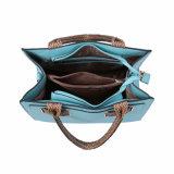 Sacchetto di Tote tessuto blu delle signore delle maniglie di svago (MBNO041061)
