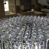 French Modern Lobby Large Cylindrical Luxo Clear Crystal Chandelier