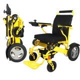 El Portable izquierdo de la palanca de mando plegable el sillón de ruedas eléctrico para lisiado va dondequiera