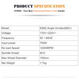 Kynko 100mm/750W 절단 갈기를 위한 전기 각 분쇄기 (KD62)
