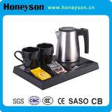 Емкость гостиницы малая чайник нержавеющей стали 0.6 LTR электрический с подносом чая