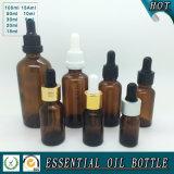 Bouteille en verre d'huile essentielle de Brown
