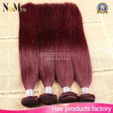Человеческие волосы волос 100% Weave Burgundy вина волос #99j Burgundy бразильские красные прямые