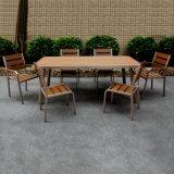 Riemen-und Straßen-Patio-im Freienmöbel aufgetragenes Aluminiumhölzernes stapelbares Stuhl-Tisch-Plastikset