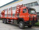 Caminhão da bandeja de Sinotruk HOWO 8X4 Logggin com bandeja e o guindaste de registo