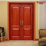 Tallado de madera sólida Piso de doble entrada puertas exteriores (GSP1-003)
