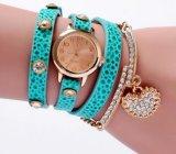 Браслет шарма диаманта wristwatch обруча Weave женщин способа Yxl-401 Китая Relojes Mujer 2016 вскользь кожаный