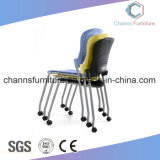 Hot Selling Chrome Metal Office Black Leather Training Chair with Casters