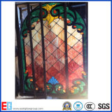 Vetro macchiato (vetro di finestre della chiesa) con il certificato del Ce