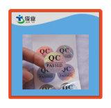 El control de calidad pasó etiquetas engomadas adhesivas del laser