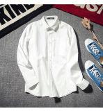 Подгоняйте человека ткани Оксфорд втулки высокого качества рубашку длиннего круглой шеи