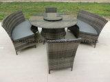 Mesa de cadeira de jantar de rattan ao ar livre com mesa preguiçosa