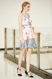 Hohes Taillen-Rand-Drucken-Schwingen-Kleid