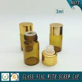 Piccola bottiglia di olio essenziale di vetro ambrata da 3 ml con la spina del riduttore e la protezione dell'alluminio