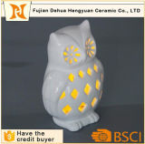 Il bianco caldo di vendita scava fuori il supporto di candela di ceramica del gufo