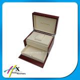Rectángulo de almacenaje plegable hecho modificado para requisitos particulares del reloj del embalaje de madera sólido del regalo