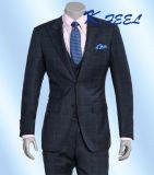 Vestito misura classico di affari dei 2016 dell'ultimo blu marino uomini del plaid con il panciotto