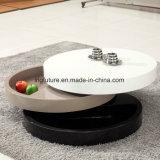 Interessante Chic Flexível Oval Mesa de café de rotação de madeira de rotação