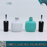 bottiglia di vetro colorata verde 15ml e bianca Mint del polacco di chiodo con la spazzola nera della protezione
