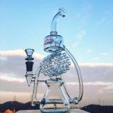14 인치 인라인 Percalator Duoble Recycler 2 원형 유리제 연기가 나는 수관