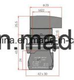 22mm Griff-Typ IP40 Drucktastenschalter