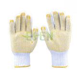 Перчатки хлопка Esen связанные 10gauge промышленные с многоточиями PVC