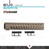 Tacband Kohlenstoff-Faser-Zusammensetzung- (CFC)freier Gleitbetrieb Keymod 12 schienen-Dunkelheit-Masse der Zoll Handguard Schienen-W/Picatinny Spitzen