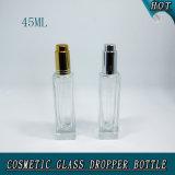botella de plata de cristal del cuentagotas de la bomba de prensa del claro de lujo del rectángulo 45ml con las pipetas