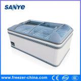 Congelador comercial horizontal superior de vidro do console do alimento Frozen