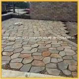 Nuova pavimentazione naturale fresca dell'ardesia arrugginita/reticolo di legno del Flagstone dell'ardesia vena di colore giallo