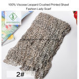 Die 100% Viskose-Leopard zerquetschte gedruckte Schal-Form-Dame Scarf