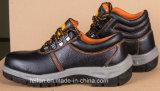 Zapato de seguridad del cuero genuino con la punta y la placa del arrabio