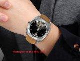 Reloj mecánico hermoso por hombres con Gunine banda de cuero Fs451