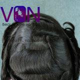Laço suíço de Von Cabelo Toupee com o plutônio em torno do cabelo brasileiro