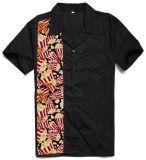 2017 Rockabilly más nuevos de los hombres grandes y altos que arropaban los cráneos florales imprimieron las camisas de alineada del diseño