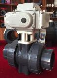 Double robinet à tournant sphérique des syndicats de PVC pour l'usage de dispositif d'entraînement