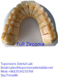 De Kroon van het zirconium met Porselein of Volledig Zirconiumdioxyde met Verschillende die Kleuren in het TandLaboratorium van China worden gemaakt
