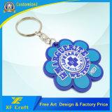 Professional Custom Flower Shape or CompanyのロゴPVC記念品(XF-KC-P07)のためのゴム製プラスチックキーホルダーのリング