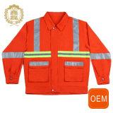 Uniformes reflexivos do soldador da mineração do Vis da laranja do OEM olá!, uniformes de trabalho da limpeza reflexiva