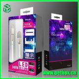 Caisse d'emballage de papier d'accessoires de téléphone avec la couverture de plastique clair avec la bride de fixation