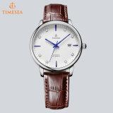 Quartz analogique montre-bracelet de mode en acier inoxydable hommes en cuir 72303