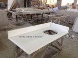 Parte superiore di vanità della stanza da bagno del dispersore di Undermount del quarzo bianco di Milano singola