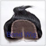 Fechamento reto de seda chinês 4 '' X 4 '' do laço do cabelo humano
