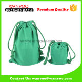 Eco-Friendly Green Durable Coffee Cotton Drawstring Pouch Bags